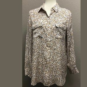 Chico's Long Sleeve Printed Button Down Blouse